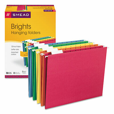 Smead Hanging File Folders 15 Tab 11 Point Stock Letter Assorted Colors 25box