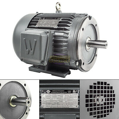 5 Hp 3 Phase Electric Motor C-face 3600 Rpm 184tc Tefc 230460 Volt Severe Duty