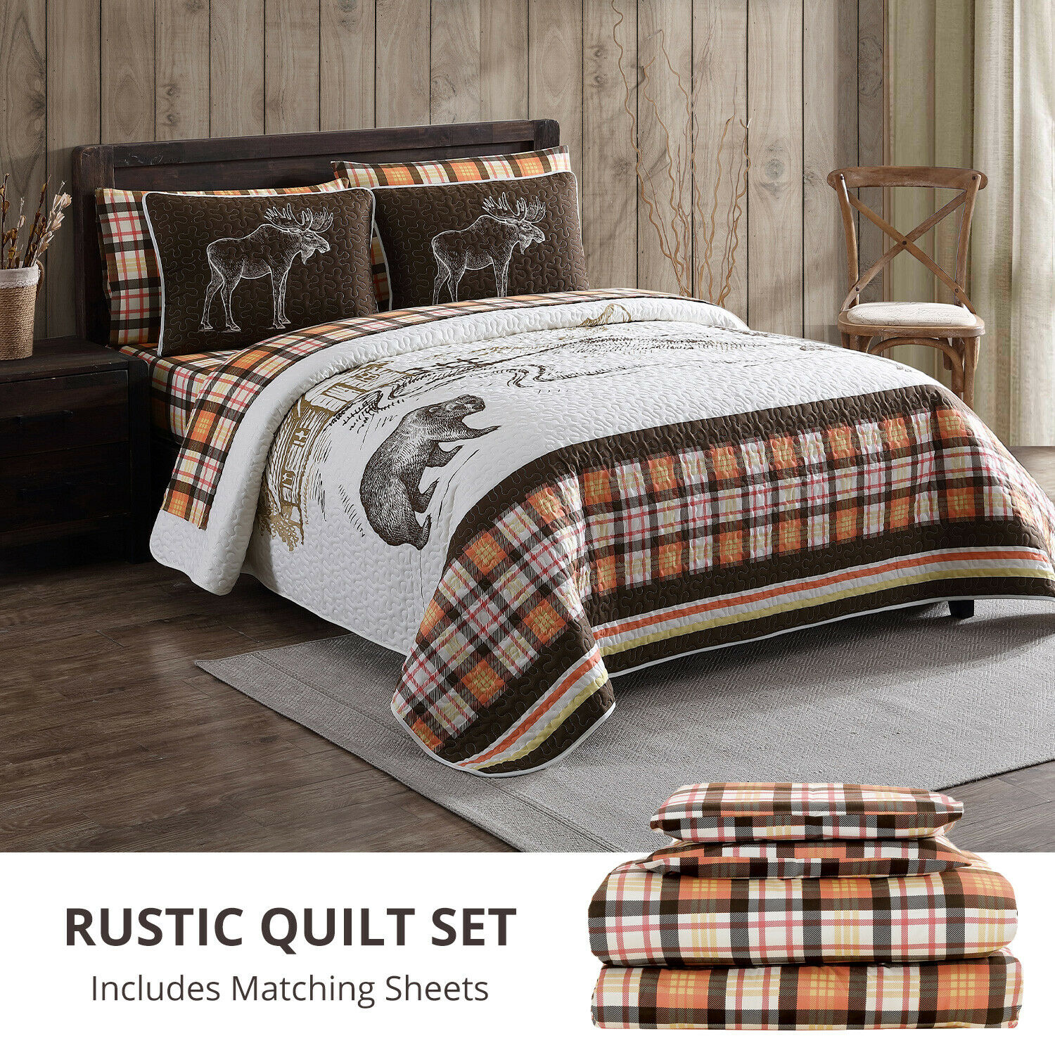 Twin, Full, Queen or King Rustic Mountain Quilt Bed in a Bag Set Bedding