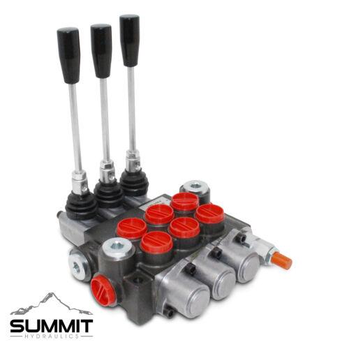 3 Spool Hydraulic Monoblock Double Acting Control Valve, 11 GPM, SAE Ports