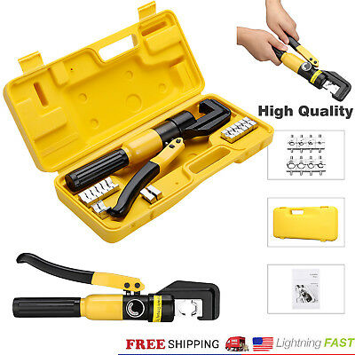 10t Hydraulic Crimper Tool Kit Tube Terminal Lug Battery Wire Crimping Force Us