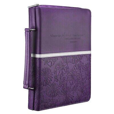 Floral Embossed Bible / Book Cover - Jeremiah 29:11 (Medium, Purple) [Imitati...