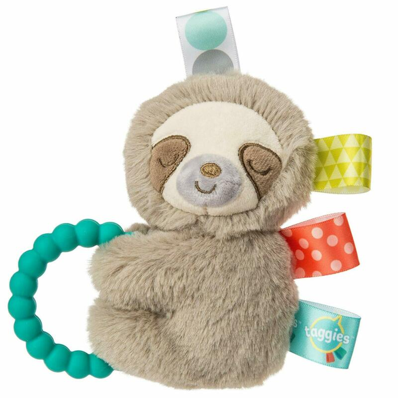"Mary Meyer Taggies Molasses Sloth 5"" Soft Baby Rattle with Teething Ring"