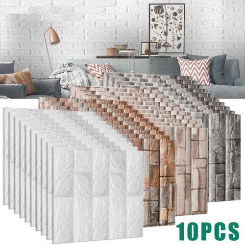 10PCS 3D Stone Brick Wall Sticker Foam Panels Self-adhesive Waterproof Wallpaper