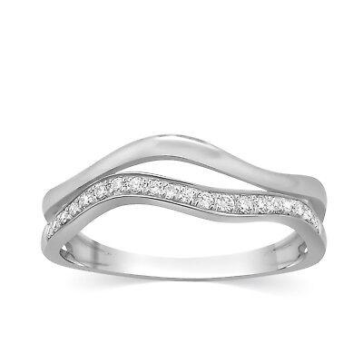 Round Pave Diamond Band Ring 2 Row Wave Swirl Half Eternity 10k White Gold Women 2 Row Pave Diamond