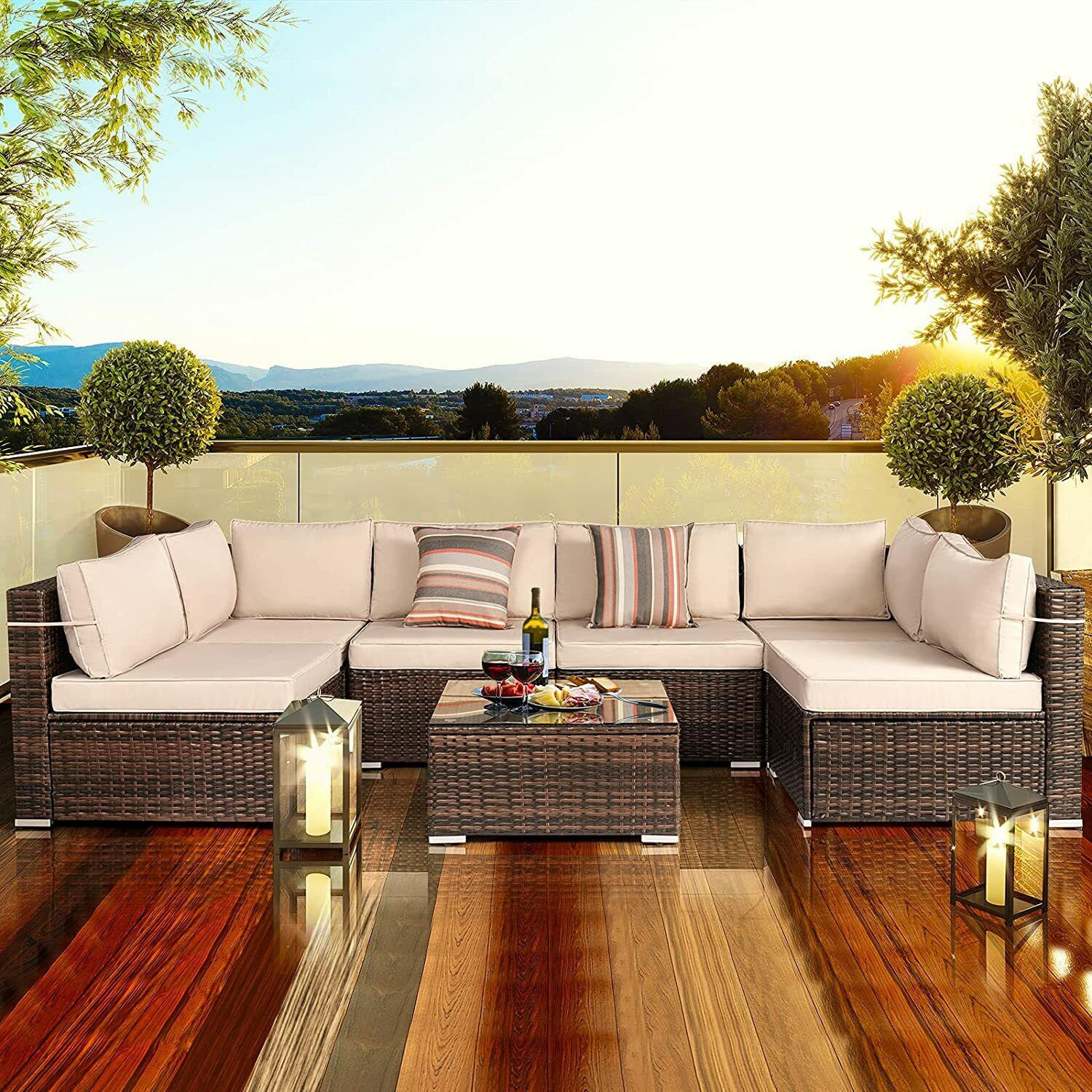 7 Pcs Patio Furniture Sets Outdoor Sectional Pe Wicker Sofa