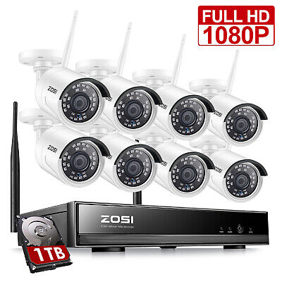 ZOSI 1080p 8CH NVR 8 2MP HD IP Outdoor Wireless Security Cam