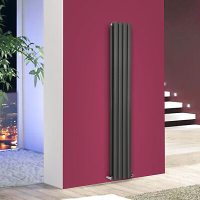 Anthracite Vertical Oval Column Designer 1800mm x 236mm Central Heating Radiator