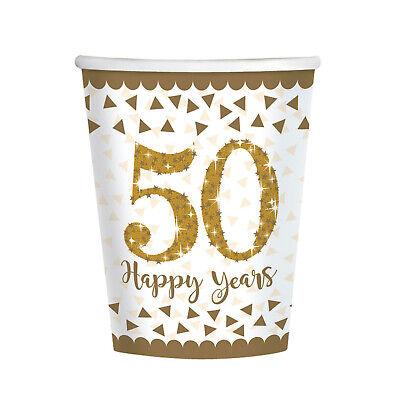 8 X Boda Dorada Tazas Papel Fiesta 50th Fiesta Aniversario Vajilla Suministros