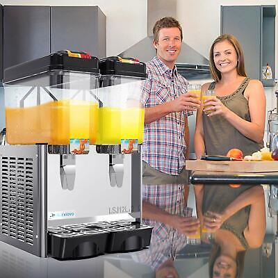 2 Tank Commercial Cold Drink Juice Beverage Dispenser Wthermostat Control