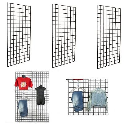 Display Grid Rack 3 Pack 6 Ft Panel Retail Metal Stand Wall Store Art Organizer