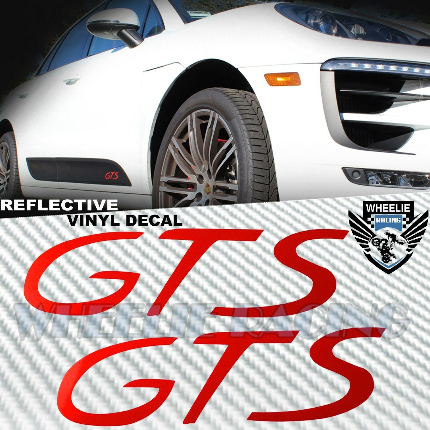Details about left right sideblade body reflective vinyl sticker kit for porsche gts logo red