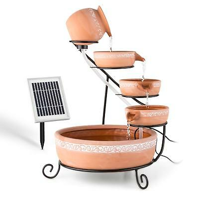 Garden Fountains Water Outdoor Solar Powered Cascade Feature Terracotta Pump LED