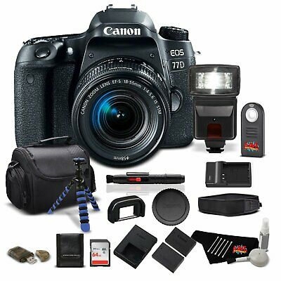 Canon EOS 77D DSLR Camera w/18-55mm Zoom Lens - Pro Bundle