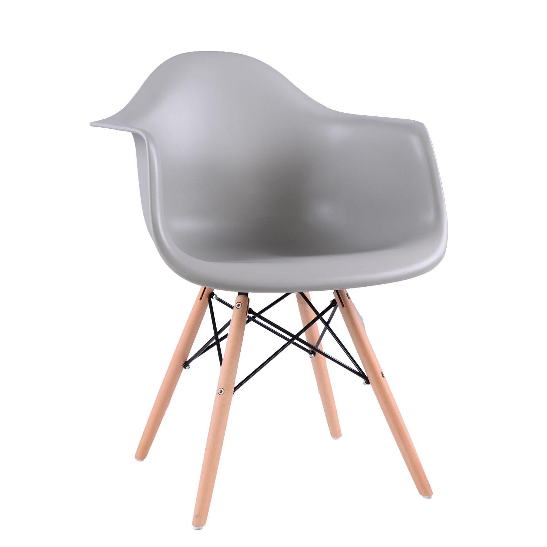 4x wohnzimmerstuhl retro st hle kunststoff polstert esszimmer b rost le grau ebay. Black Bedroom Furniture Sets. Home Design Ideas