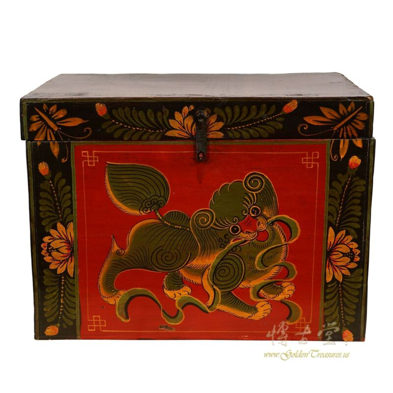 19 Century Antique Chinese Wooden Painted Box