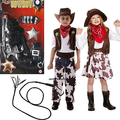 Cowboy Cowgirl Boys Girls Childs Kids Fancy Dress Costume Opt Gun, Whip Age - Kid Cowboy Kostüm