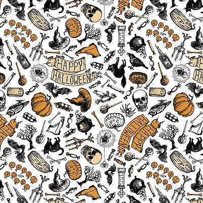 Patrick Lose Happy Halloween White 100% cotton fabric by the yard - Happy Halloween Fabric