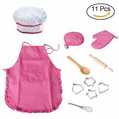 Kochmütze für Kinder, 11PCS Schürzen-Set ,Topfhandschuh Chef Kostüm Kinder - Koch Schürze Kostüm