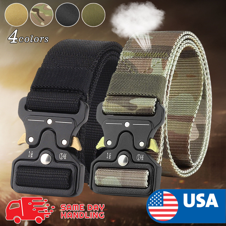 49″ Men Tactical Buckle Belt Military Nylon Belt Training Strap US Belts