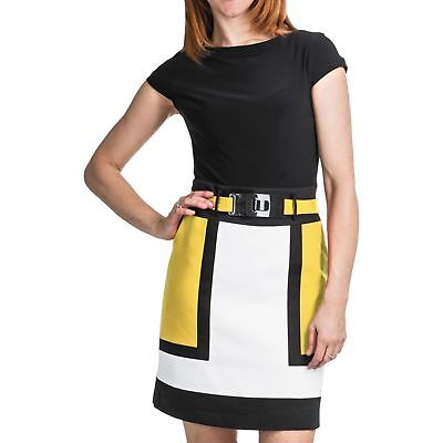 New $140 CHETTA B. Womens Size 10 Colorblock Jersey Dress Belted Short-Sleeve Belted Jersey-shorts