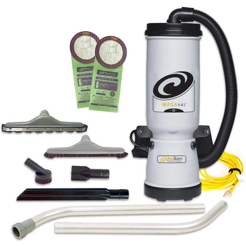 ProTeam MegaVac 10 Qt Backpack Vacuum w/ Blower and Surface Tool Kit (For Parts)