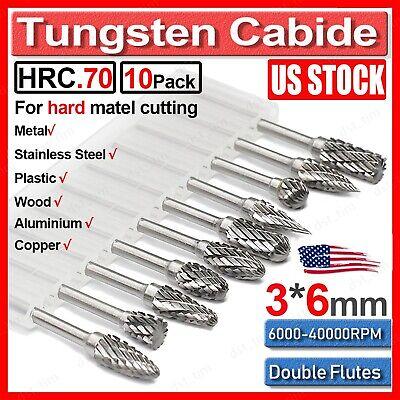 10x Rotary Burr Set Head Tungsten Carbide Burrs 18 Shank Die Grinder Bit Tool