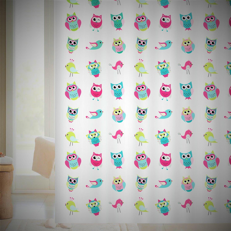 Duschvorhang BIRDS EULE 180x180 cm incl. Ringe Vorhang