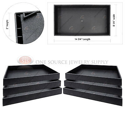 6 Piece 2 Deep Black Plastic Display Tray Jewelry Storage Stackable Organizers