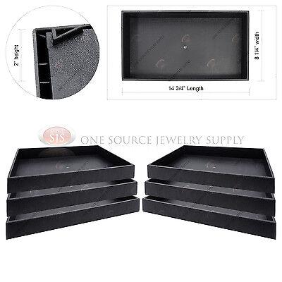 "6 Piece 2"" Deep Black Plastic Display Tray Jewelry Storage Stackable Organizers"