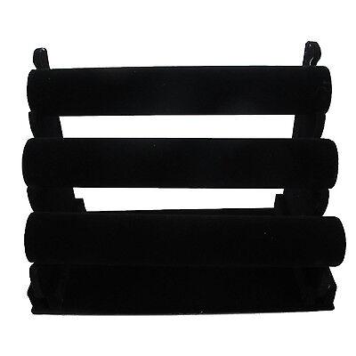 High Quality 3-tier Black Velvet Jewelry Bracelet Watch Display Rack Holder