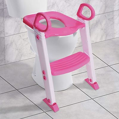 Baby Toddler Ladder Step Potty Training Toilet Seat Gripper Handles (Pink)