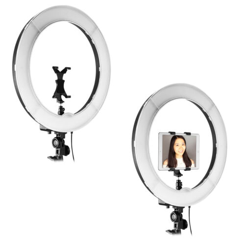 """18"""" Dimmable Camera Photo Video LED Ring Light with Color Filters & Clip"""