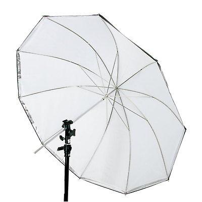 60 in. White/Silver Convertible Photo Studio Umbrella with Black Cover 10 -