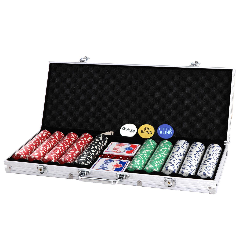 500 Chips Poker Chip Set  2 Cards 11.5 Gram Holdem Cards Game W/Aluminum Case Casino