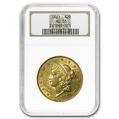 1861 $20 Liberty Gold Double Eagle AU-55 NGC - SKU#32948