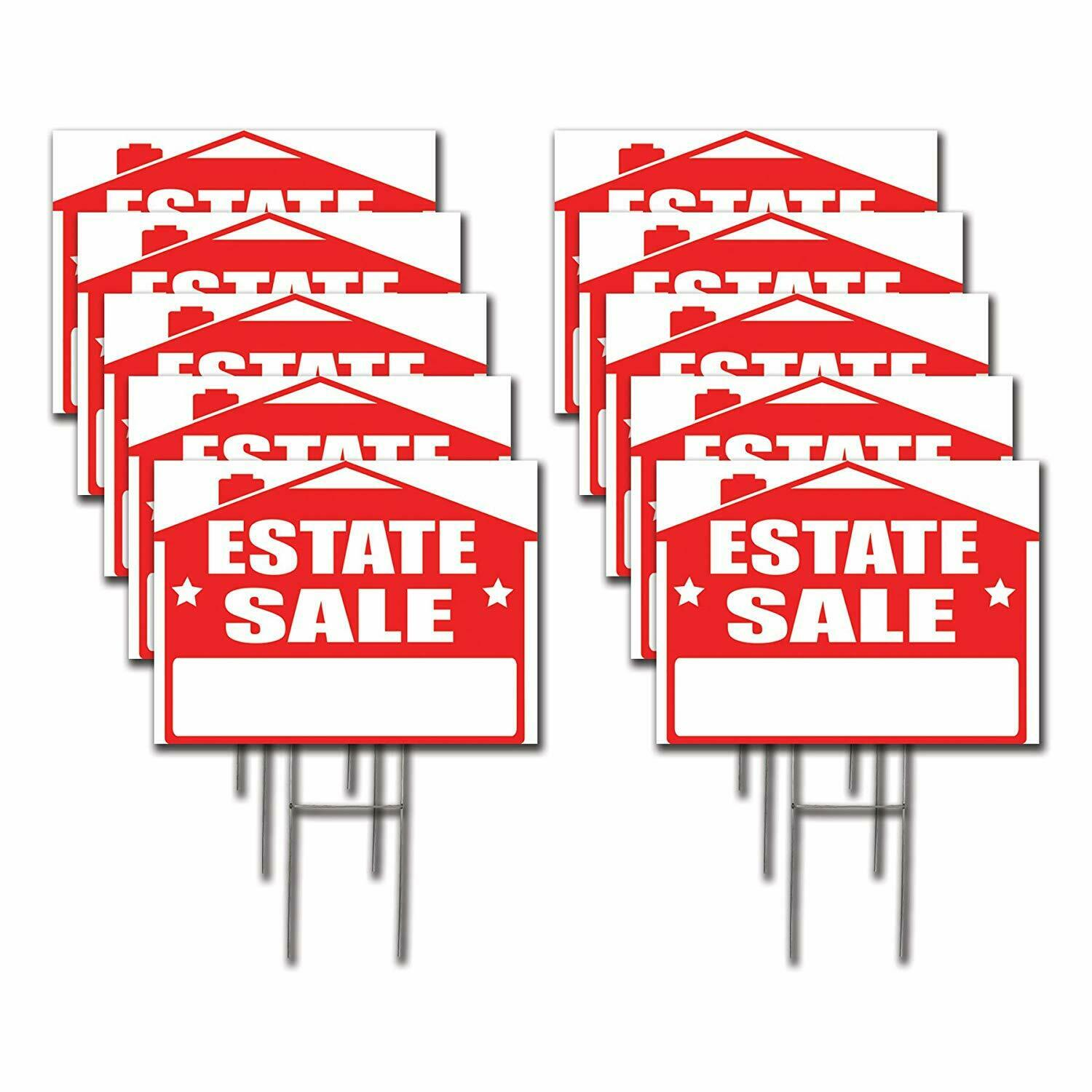 10 Pack 'ESTATE SALE' 18x24 Yard / Lawn Sign Kits
