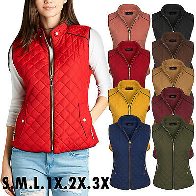 Women's Quilted Fully Lined Lightweight Zip Up Vest S-3X