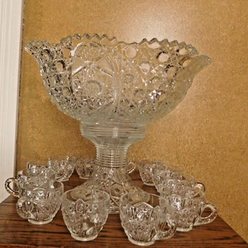 Large Smith Glass  Daisy and Button Flared Punch Bowl Set/ Stand / 12 Cups! EUC