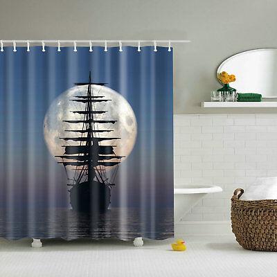 Shower Curtain Decor Set Driving Vintage Sailing Pirate Bath Curtains + 12 Hooks - Pirate Shower Curtain