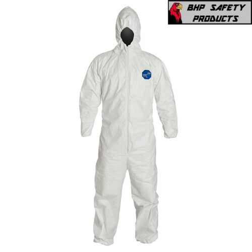 DUPONT TY127S WHITE TYVEK COVERALL BUNNY SUIT HOOD w/ ELASTIC WRIST & ANKLES
