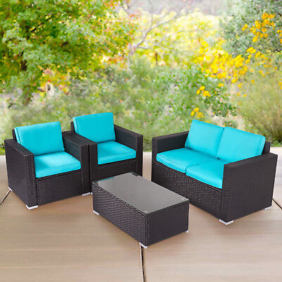 Garden Furniture - 4 PCs Rattan Patio Furniture Set Garden Lawn Sofa Sectional Set Blue Outdoor