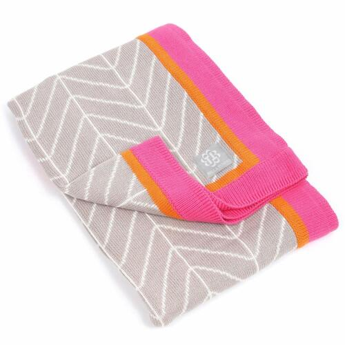 Bella Tunno Stroller Blanket Haute Herringbone Gray/Pink/Orange ~ Baby Blanket
