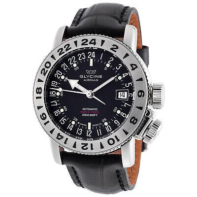 Glycine 3918.19.66.LBK9 Men's Airman 18 Purist Automatic 39mm Black Dial Watch