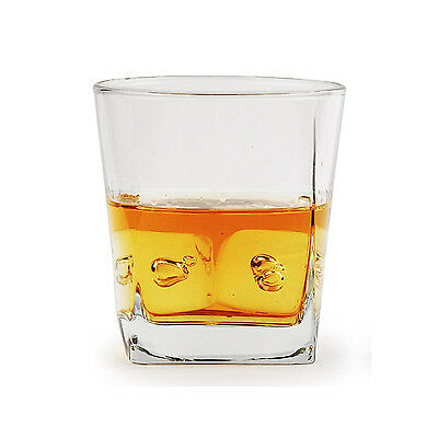Whiskey Glasses Set of 4 Square Double Old Fashioned Scotch Drinking Glass 10 oz