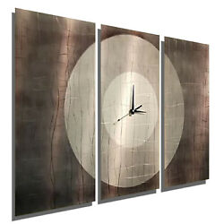 Large Modern Metal Wall Art Clock 3 Painted Panels Contemporary Decor Jon Allen