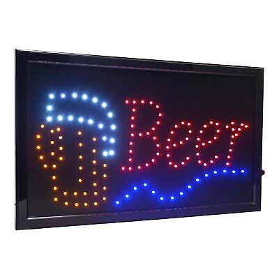 Large Beer Bar High Visible Led Light Business Open Sign Chain Switch 21.5x13