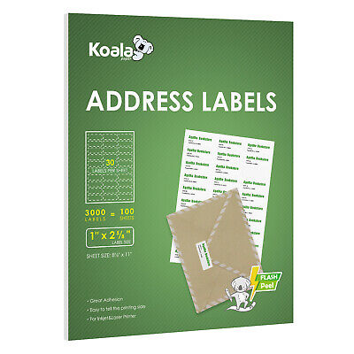3000 Labels 30 Up Per Sheet 2.625x1 Self Adhesive Shipping Address Fba Amazon