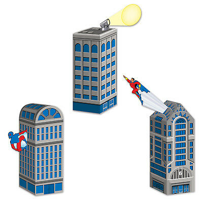Party City Favors (3 ct  SUPER HERO Skyscraper City Building Birthday Party Goodie Bag Favor)