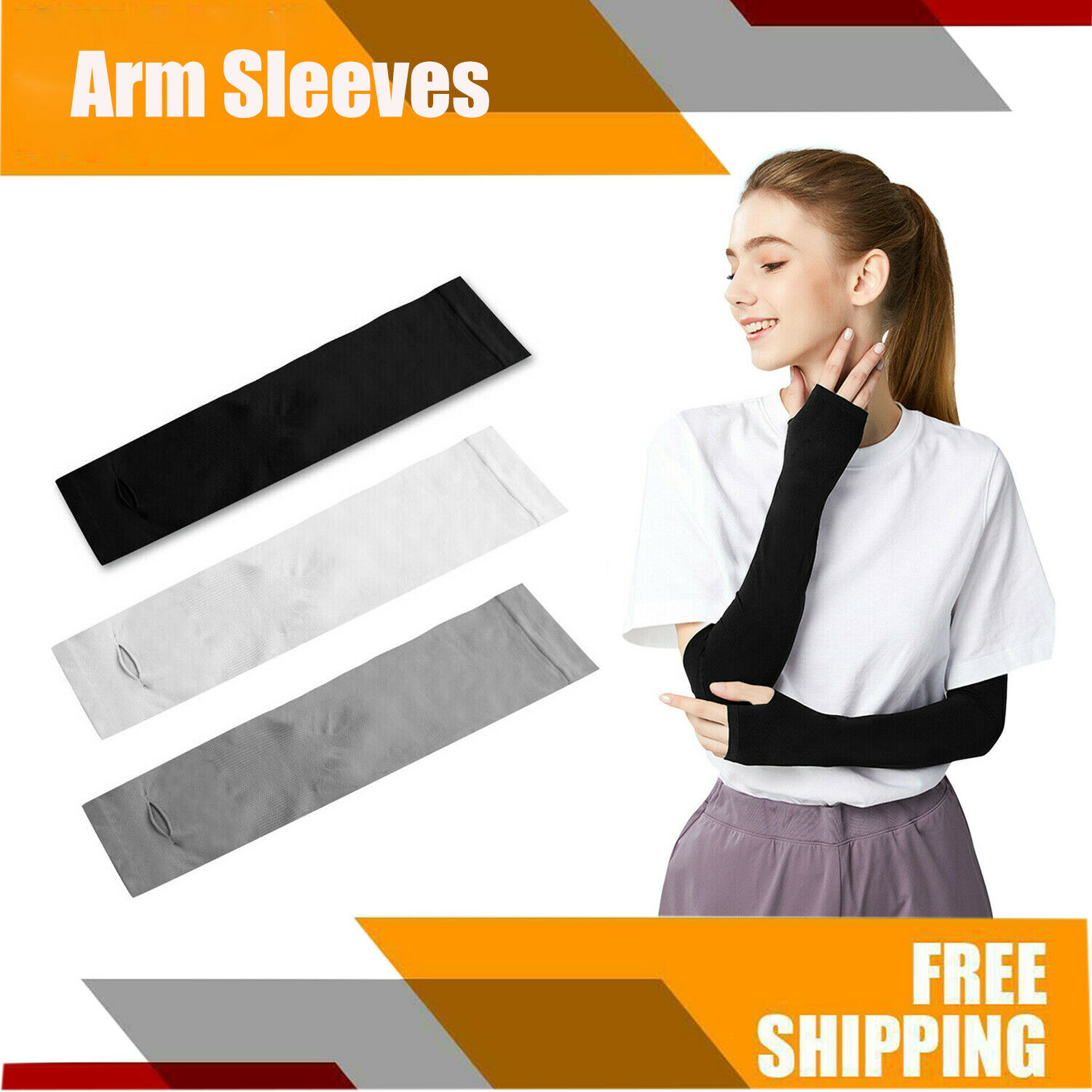 Cooling Arm Sleeves UV Sun Protection Gloves Outdoor Sports Cover For Men Women Basketball